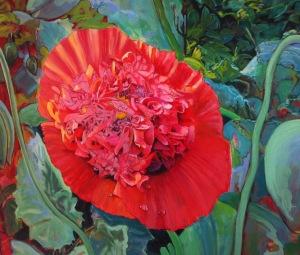 Gordon Snow 'Red Pleasure' oil on canvas detail