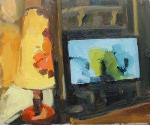 Rachel Milne 'Evening TV is Boring' and it's 23 cm H x 28cm W oil on board