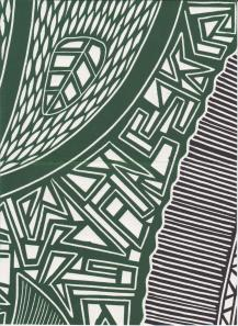 Lino print detail by Vera Zulumovski from a work entitled Entwined.